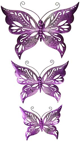 Regal Art & Gift 12073 Capri Butterfly Decor S/3-Purple Wall Décor, Purple