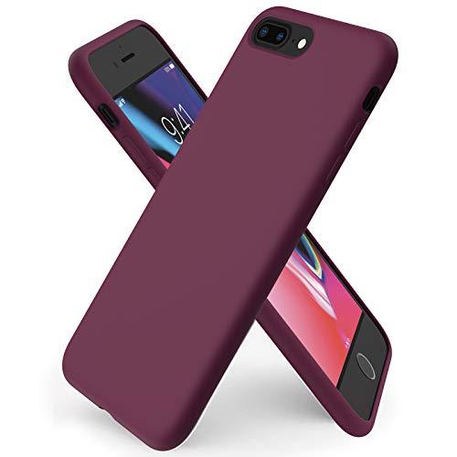 ORNARTO Coque iPhone 8 Plus en Silicone, iPhone 7 Plus Protection Complète du Corps,Case Fine en Caoutchouc Liquid Silicone Protection Anti-Choc Housse Étui 5,5 -Vin Rouge