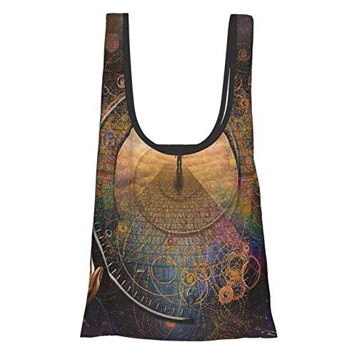Magic Home Decor Einkaufstasche mit doppelter Belichtung, gemischt mit irdischen Symbolischen Ewigkeitsdetails, kunstvoller Druck, lila, hellbraun, wiederverwendbar, faltbar, umweltfreundlich