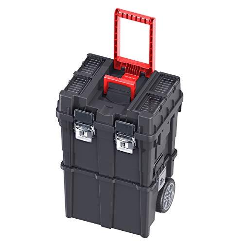 CAJA de HERRAMIENTAS Vacía con Ruedas Plástico 35x45x64cm Compact HD Desmontable Policarbonato + Bandeja interior