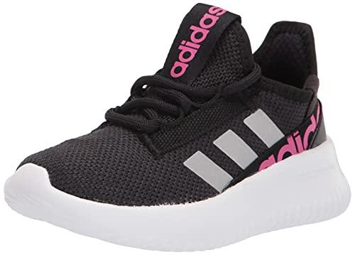 adidas Kaptir 2.0 Running Shoe, Black/Silver Metallic/Team Real Magenta, 4 US Unisex Big Kid