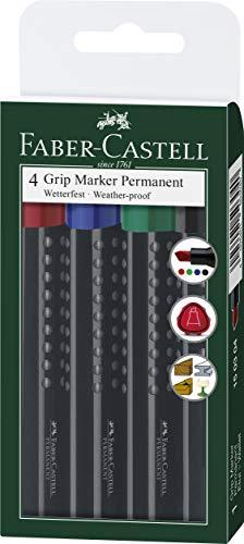 Faber-Castell 150304 - GRIP Marker permanent mit Keilspitze, 1 - 3 mm, 4er Etui, Inhalt: rot, grün, blau und schwarz