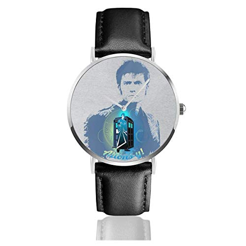 Unisex Business Casual David Tennant Comp Arzt, der Tardis Quarz Lederuhr beobachtet