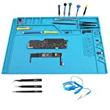 CPB Magnetic Repair Mat for Electronics Screw Silicone Static Work Mat with ESD Wrist Strap Compatible with Iphone Ipad Macbook Computer Soldering Iron Size :21.6 x 13.8 inch