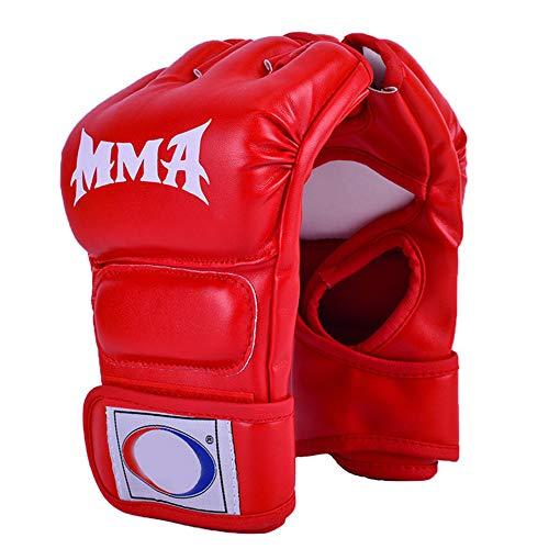 OUYA Guantes de MMA, Guantes UFC para Hombres y Mujeres, Guantes de Kickboxing sin Dedos, Guantes de Boxeo para Saco de Boxeo, Sparring, Muay Thai - 22 * 11 * 2,5 cm,Rojo