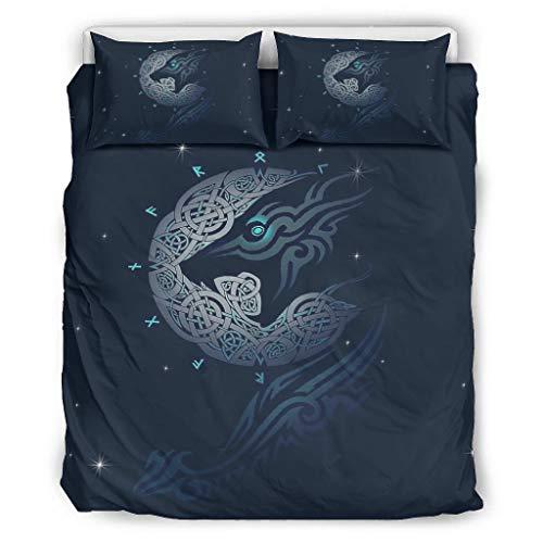 Relaxident Juego de edredón Viking Wolf ultra suave, 1 funda de edredón y 2 fundas de almohada para todas las estaciones, color blanco