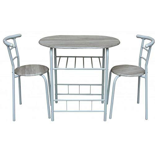 REPLOOD Manchester - Juego de mesa ovalada de 80 x 50 cm con 2 sillas retráctiles, de fibra de densidad media, modelo Manchester