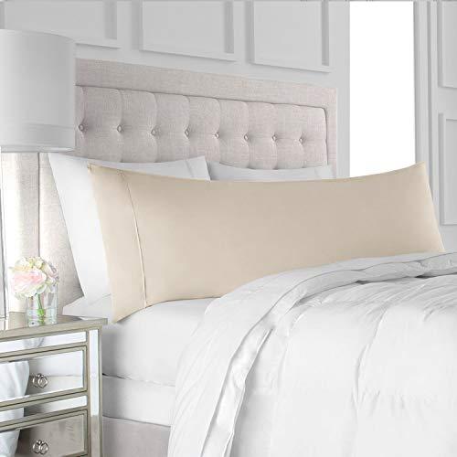 "Italian Luxury Body Pillow Cover - Soft, Allergy-Friendly Microfiber Pillow Case w/ No Zipper - Long Body Pillows for Adults - 21"" x 60"", Cream"