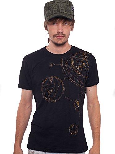 Herren Psychodelisch T-Shirt Magischer Kreis Grafik Symbol Hypnotisch Druck Top - in Schwarz - Small