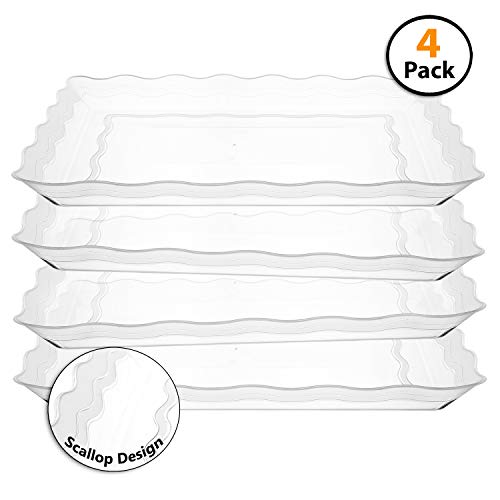 4 Pack Rectangular Plastic Trays, Heavyweight Disposable Serving Party Platters,