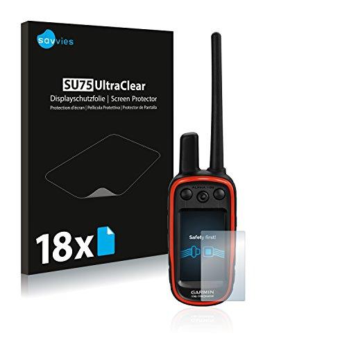 savvies Protector Pantalla Compatible con Garmin Alpha 100 (18 Unidades) Pelicula Ultra Transparente
