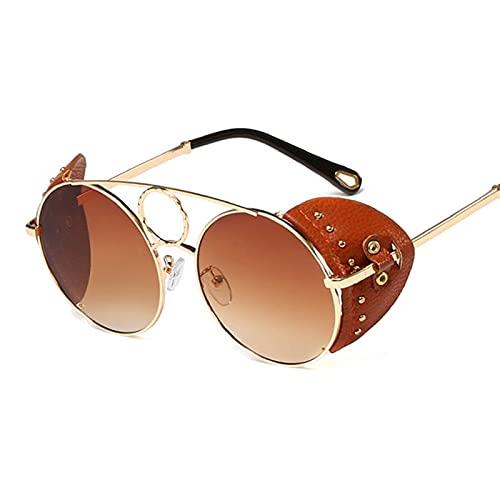 ShZyywrl Gafas De Sol Gafas De Sol Redondas Estilo Steampunk De Moda Vintage para Mujer Gafas De Sol con Protección Lateral De Cuero para Hombres Sombras