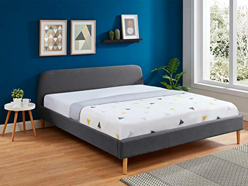 HOMIFAB Lit Adulte scandinave 180x200 Gris foncé - Collection Gaby