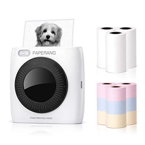 PAPERANG P2 Portable Printer, Mini Bluetooth Wireless Sticker Printer Thermal Printer Compatible with Android + iOS with 6 Rolls Sticker & Colorful Paper for Work Plan, Meeting Notes, Gift, 300 DPI