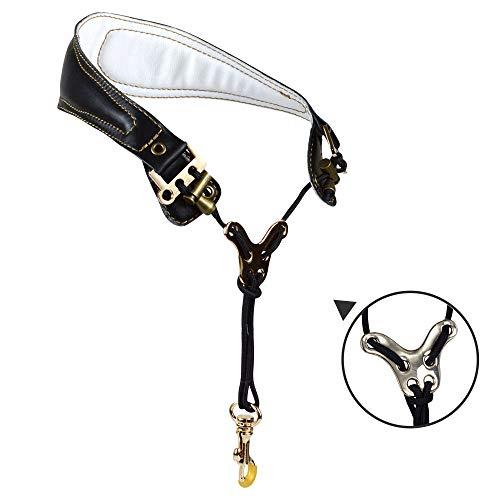 Adorence Premium Saxophon Gurt (handgefertigt mit echtem Leder, atmungsaktivem Polster und Metallhaken) - weniger Stress Ergonomie Design Sax Strap