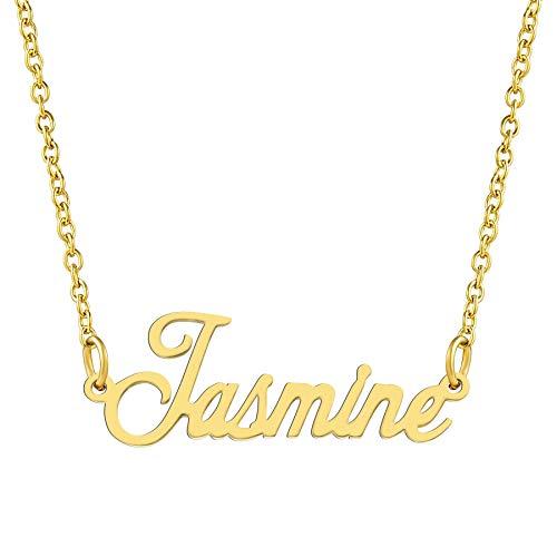 KISPER 18K Gold vergoldet Edelstahl personalisierte Name Anhänger Halskette, Jasmine