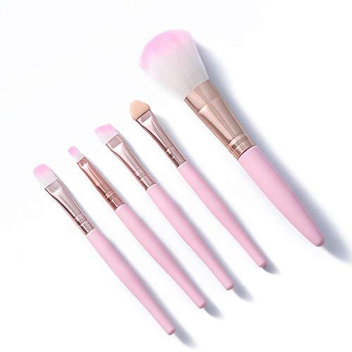 LSWL 5pcs / set Kawaii Maquillage des yeux Brosses Eyeliner Ombre à paupières Sourcils Visage fard à joues Rose Bleu Maquillage du visage Outils cosmétiques (Color : 02)