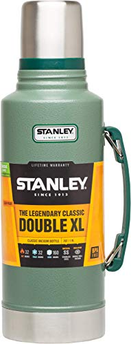 Stanley Classic Vakuum-Flasche, 1,9 Liter, 18/8 Edelstahl, Hammertone grün, Vakuum Isolation
