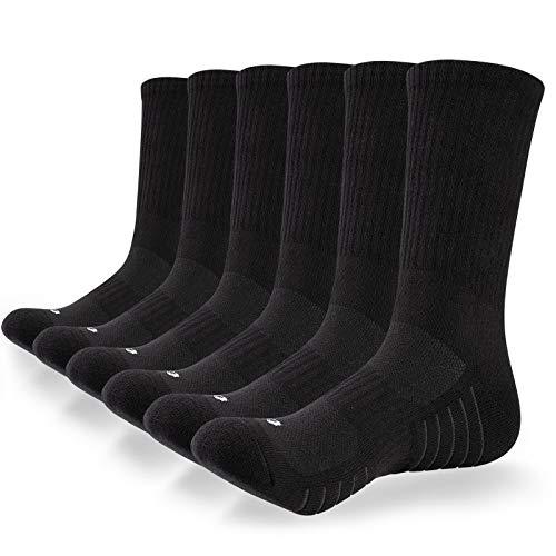 coskefy Cotton Sports Socks Cushioned Running Socks Trainer Socks for Men Women Walking Hiking Trekking Socks, 6 Pairs x black (B), 9 11 UK