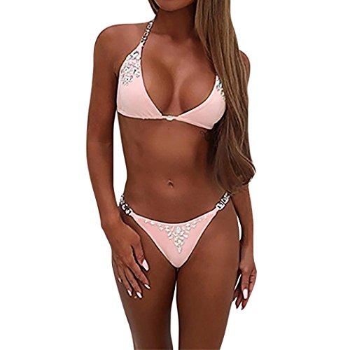AMUSTER Damen Bikini Bandeau Push Up Gepolstert Bademode Triangel Bademode Bikini-Sets Elegant Top + Slip Tankinis Bademode Bikini-Sets Zweiteilig Bademode Swimsuit (M, Rosa)