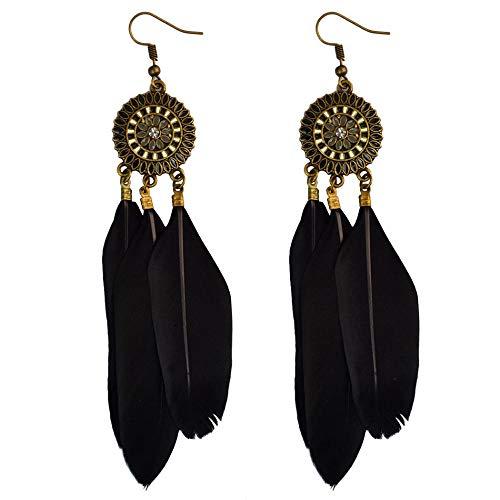 Pendientes de plumas largos de bronce retro Pendientes colgantes de tres plumas redondos geométricos femeninos-Negro