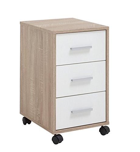 FMD möbel Brio S03 Cassettiera Ufficio, 33,6X42X57,5 H cm, Rovere, Bianco, Nobilitato