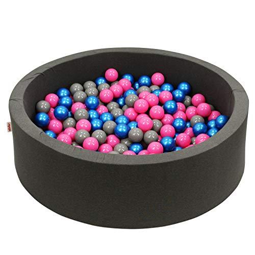 snugo Bañera de bolas con diseño de oso de peluche, color gris oscuro, con más de 350 bolas y 110 cm de diámetro, fabricada en Alemania/Augsburg, el original