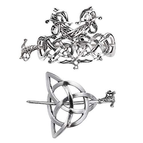 PIXNOR 2 Stück Keltische Haarspangen Vintage Haarspange Drache Haarnadel Silber Haarstift Keltischen Knoten Schmuck Wikinger Haarschmuck für Frauen