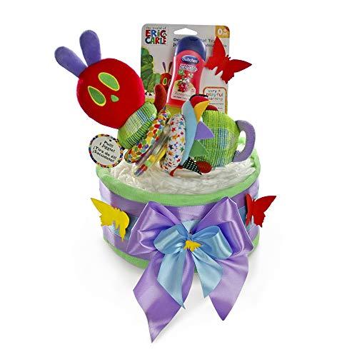 dubistda© Windeltorte neutral für Junge und Mädchen RAUPE NIMMERSATT mit Baby Motorikspielzeug / 24-teilig/Geschenk zur Geburt