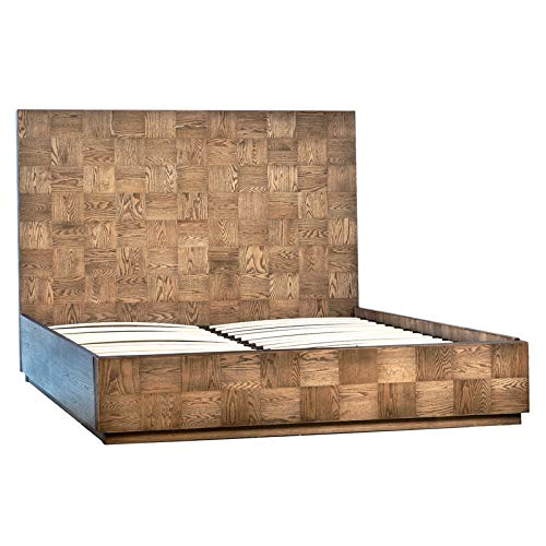 Buy Discount Preston Oak Eastern King Bed with Antiqued Finish and Checkered Pattern showcasing Beau...