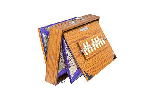 Shruti Box, Maharaja Musicals, groß, natürliche Farbe, 40,6 x 30,5 x 7,6 cm, 13 Noten, Surpeti, Sur Peti, Long Sustain, professionelle Qualität, Shruthi-Box, mit Tasche (PDI-657)