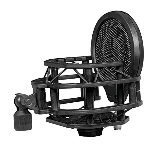 Perfeclan Soporte de montaje de micrófono de choque con filtro Pop soporte de montaje de micrófono para grabación de difusión de estudio
