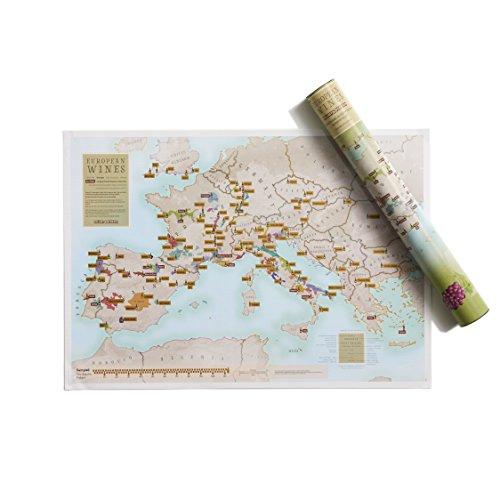Druck mit europäischen Weinen zum Rubbeln - Poster als Geschenk für Wein-Enthusiasten - Regionen + Unterregionen - Geschenkröhre - A2-Format 59,4 (h) x 42 (b) cm