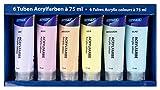 Stylex 28629 - Juego de 6 tubos de 75 ml de pintura acrílica pastel a base de agua, mate, alta opacidad y color, resistente a la luz, secado rápido y resistente al agua