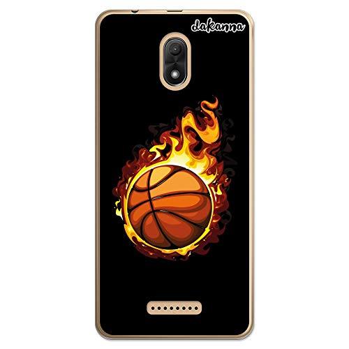 dakanna Funda Compatible con [Wiko Jerry 3] de Silicona Flexible, Dibujo Diseño [Balón de Baloncesto en Llamas], Color [Borde Transparente] Carcasa Case Cover de Gel TPU para Smartphone