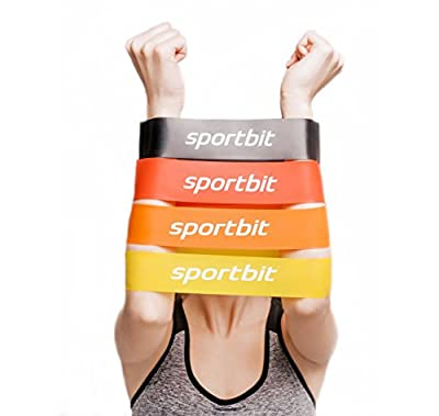 SPORTBIT Pilates Flexbands Set with Bag & e-Book for Exercise & Workout