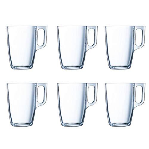 Set 6 Tazas Transparentes de 25cl para Desayuno, Mug de Vidrio para Café y Té, Aptas para Microondas y Lavavajillas