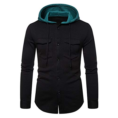 PRJN Mens Long Sleeve Hoodie Classic Shirt Men Hooded Plaid Shirts Button Sweatshirt Long Sleeve Tops Mens Long Sleeve Casual Shirt Mens Long Sleeve Button Down Shirt Hooded Jacket