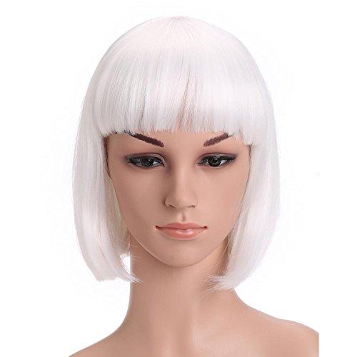 Vococal® Mesdames Tout Droit Plat Bang à Court Bob Cheveux Perruque Halloween Noël Cosplay Party Blanc