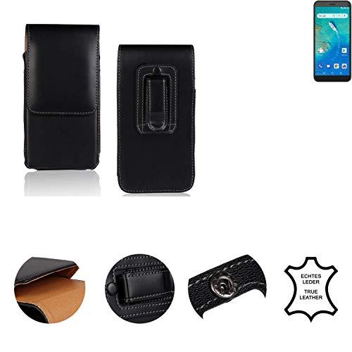 K-S-Trade® Holster Gürtel Tasche Für General Mobile GM 8 Go Handy Hülle Leder Schwarz, 1x