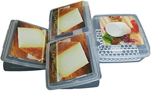 Set de 4ud de Estuche Plastico Protector para Quesos. 1 ud Rectangular + 3 ud Cuña Triangular