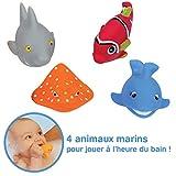LUDI - Animaux marins en plastique pour jouer dans le bain. 4 poissons arroseurs rigolos. Pour les enfants dès 6 mois. Jouet à emmener à la plage -Aspergeurs poissons -  réf. 2221