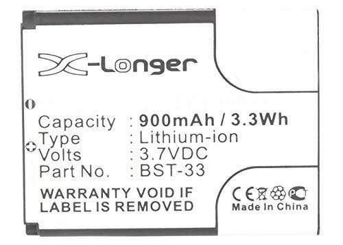 Synergy Digital Cell Phone Battery, Works with Sony Ericsson BST-33 Cell Phone, (Li-Ion, 3.7V, 900 mAh) Ultra High Capacity Battery
