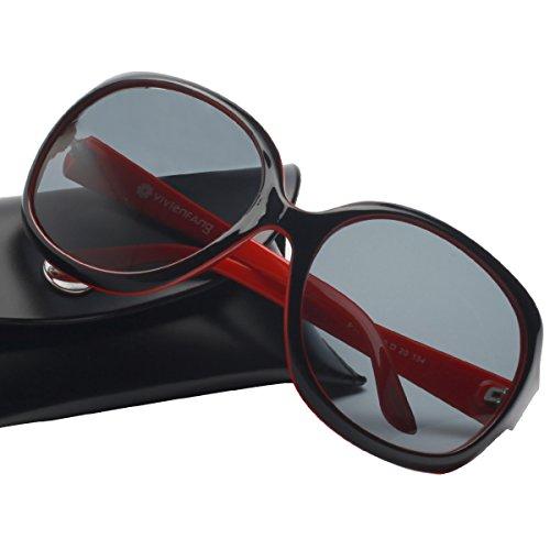 VIVIVIENFANG Donne Classico Elegante Oversize Polarizzato Occhiali Da Sole Moda Driving Shades Per Lady P1981 Montatura nera e rossa/lente fumé L