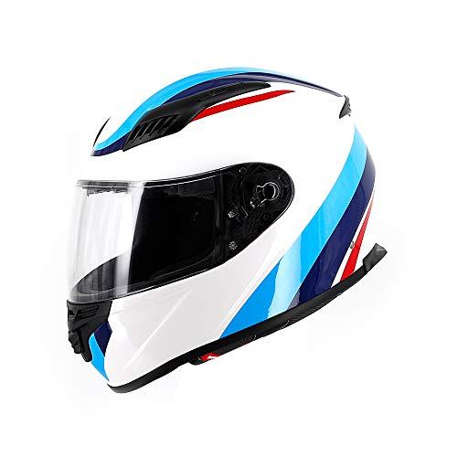 PURROMM Offroad-Motorradhelm für Herren, DOT/ECE-Damen-Vollgesichts-Straßenrennen-Motocross-Modullokomotive Jet-Doppelspiegel-Modular Flip Cromwell-Helm,L