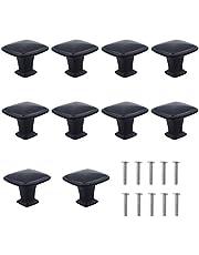 Natuce 10 stuks mat-zwarte ladenknoppen, meubelknoppen, ladegrepen, commode-knoppen set, meubelgreep, modern, met ronde plaat boven, 30 mm knop voor kast, lade keuken