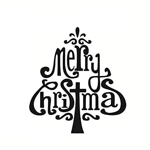 Adesivo murale pupazzo di neve albero di Natale allegro ChristmasShop Black Christmas Home Decoration