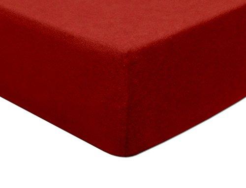 MODHAUS Lenzuolo con angoli elasticizzati, in spugna, rosso, 82% cotone, 18% poliestere., Colore: rosso, 200-210x220
