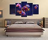 Cinco piezas de cuadros de lienzo Pez payaso Acuario Impresión de peces submarinos Decoración de arte de pared Cartel de impresión en HD Decoración para el hogar Pinturas enmarcadas 150x80cm