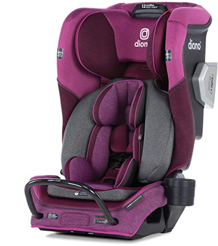 Diono Radian 3QXT 4-in-1 Rear and Forward Facing Convertible Car Seat, Safe Plus Engineering 4 Stage Infant Protection, 10 Years 1 Car Seat, Slim Design - Fits 3 Across, Purple Plum